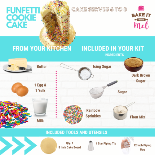 Bake it With Mel -  DIY Funfetti COOKIE CAKE KIT Perspective: back
