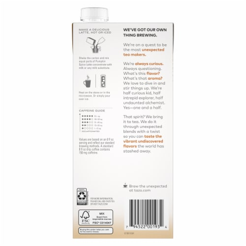 Tazo Golden Turmeric Latte Herbal Tea Concentrate Perspective: back