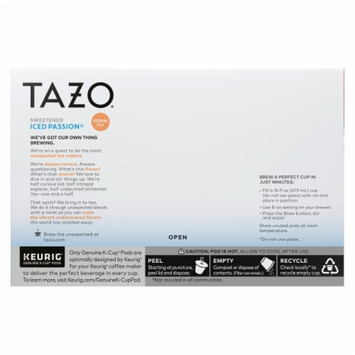 Tazo Iced Passion Sweetened Herbal Tea K-Cup Pods Perspective: back