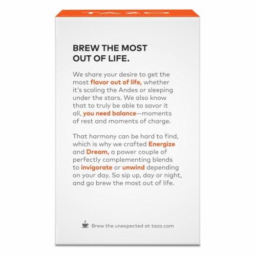 Tazo Energize Green Tea Bags 20 Count Perspective: back