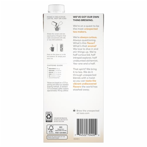 Tazo Organic Chai Latte Black Tea Concentrate Perspective: back