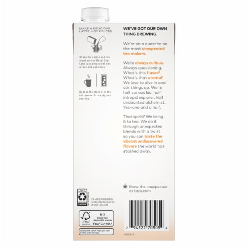 Tazo Decaf Chai Latte Black Tea Concentrate Perspective: back