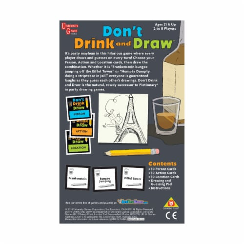 University Games Don't Drink and Draw Board Game Perspective: back