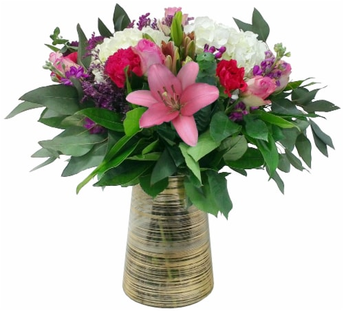 Luxe Mixed Pink Bouquet with Vase (Approximate Delivery 1-3 Days) Perspective: back