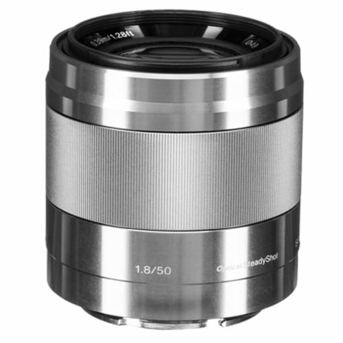 Sony E 50mm F/1.8 Oss Lens (silver) With 128gb Accessory Kit Perspective: back