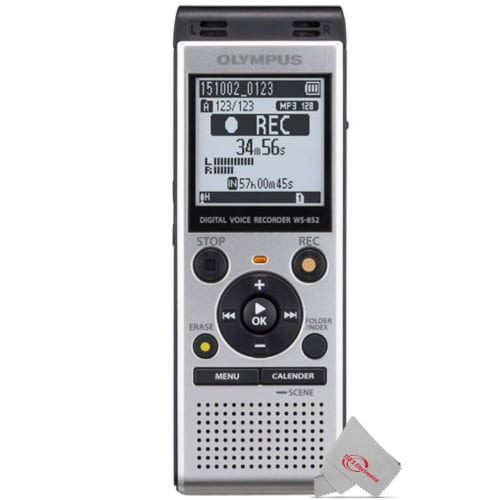 Olympus Ws-852 V415121su000 Digital Voice Recorder (silver) + Deluxe Accessory Kit Perspective: back