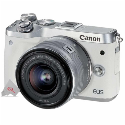 Canon Eos M6 24.2mp Mirrorless Digital Camera White With 15-45mm Lens + Electronic Viewfinder Perspective: back