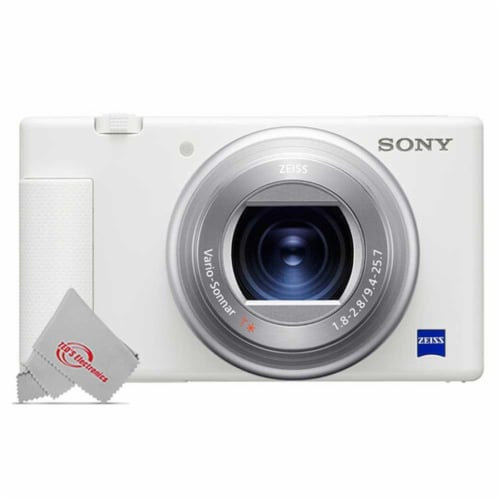 Sony Zv-1 Built-in Wi-fi Digital Camera White + 128gb Accessory Kit Perspective: back