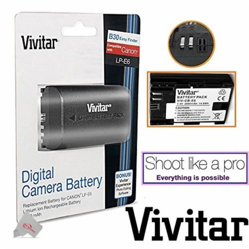 Vivitar Replacement Battery For Canon Lp-e6 + Replacement Rapid Charger Perspective: back