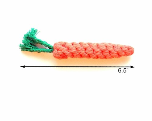 Midlee 1-Pack Rope Carrot Easter Dog Toys Perspective: back
