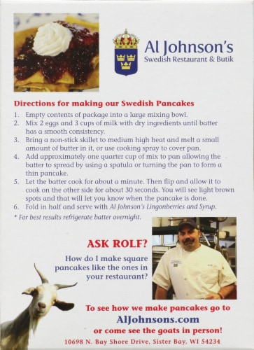 Al Johnson's Swedish Pancake Mix Perspective: back