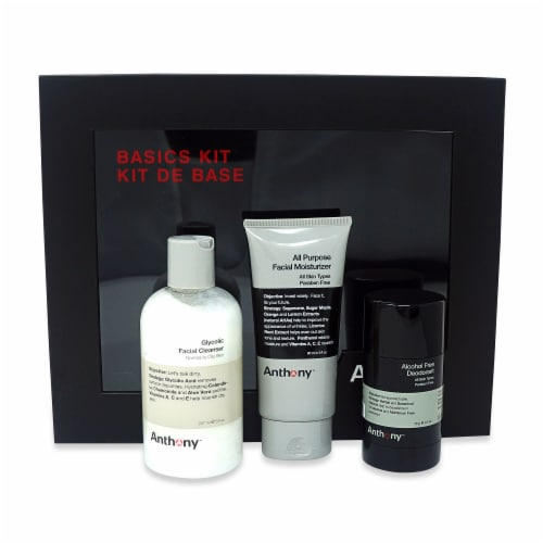 Anthony Basics Kit Glycolic Facial Cleanser, All Purpose Facial Moisturizer, and Deodorant Perspective: back