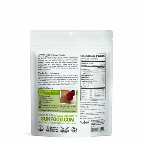Sunfood Organic Cacao Powder Perspective: back