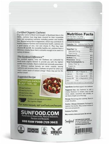 Sunfood Raw Organic Whole Cashews Perspective: back