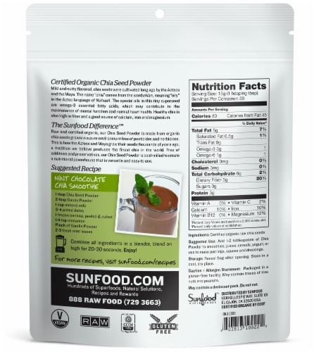 SunFood Organic Chia Seed Powder Perspective: back