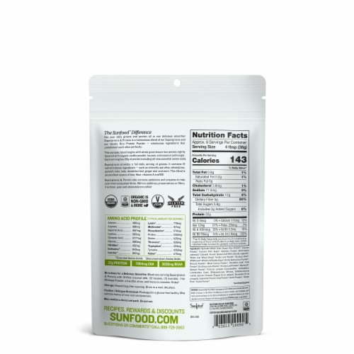 Sunfood Raw Organic Supergreens and Protein Perspective: back