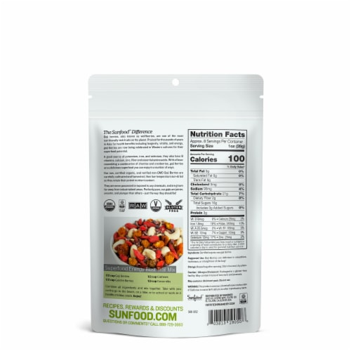 Sunfood Raw Organic Gluten Free Goji Berries Perspective: back