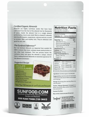 Sunfood Raw Organic Heirloom Almonds Perspective: back