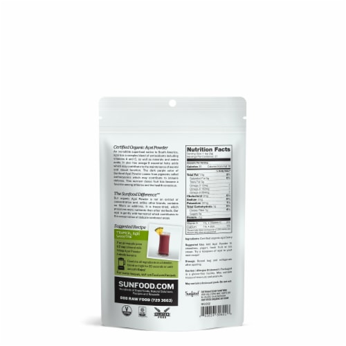 Sunfood Organic Acai Powder Perspective: back