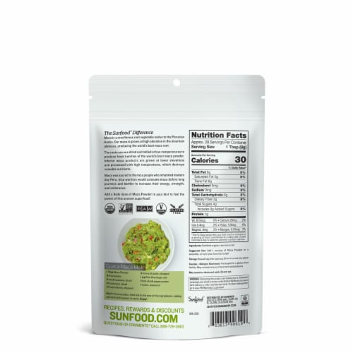 Sunfood Superfoods Raw Organic Maca Powder Perspective: back