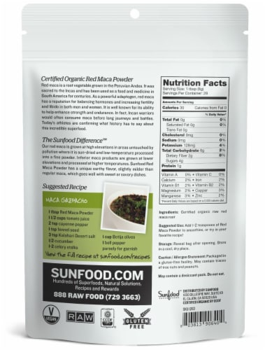 Sunfood Raw Organic Red Maca Powder Perspective: back