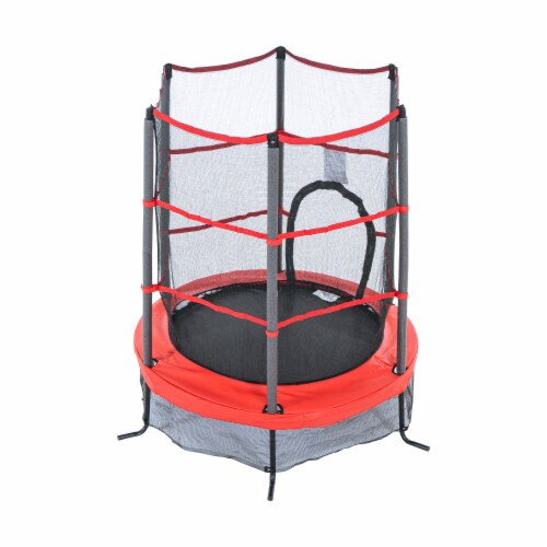 Propel Trampolines 55 Inch Preschool Trampoline with Zippered Entrance, Red Perspective: back