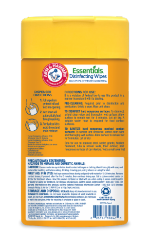 Arm and Hammer Essentials Lemon Orchard Disinfecting Wet Wipes Perspective: back
