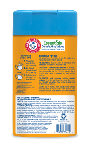 Arm and Hammer Essentials Renewing Rain Disinfecting Wet Wipes Perspective: back