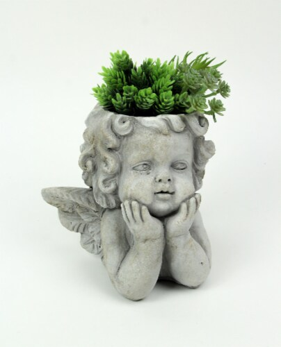 Weathered Gray Concrete Winged Cherub Angel Head Planter 7.75 Inches High Perspective: back