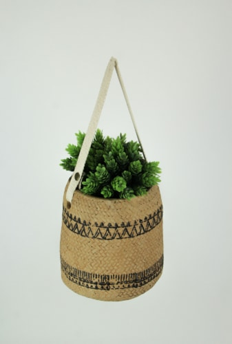 Canvas Hanging Cement Planter Indoor Outdoor Flower Pot Succulent Herb Holder Perspective: back