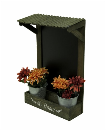 My Home Wooden Chalkboard Wall Hanging w/Shelf & Planters Perspective: back