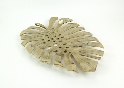 19 Gold Metal Leaf Decorative Bowl Wall Art Home Decor Sculpture Serving Tray Perspective: back