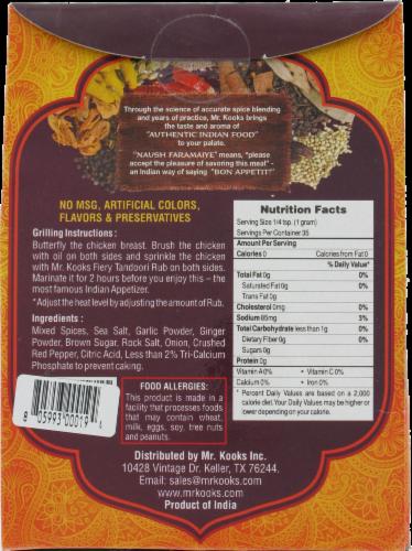 Mr. Kook's Fiery Tandoori Indian Spice Rub Perspective: back