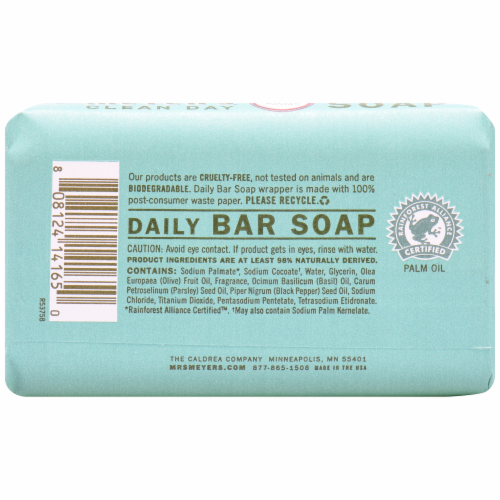 Mrs. Meyer's Clean Day Basil Bar Soap Perspective: back