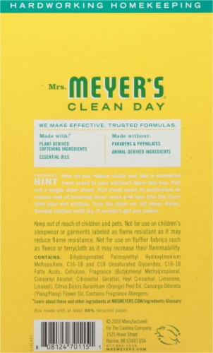 Mrs. Meyer's Clean Day Honeysuckle Dryer Sheets Perspective: back