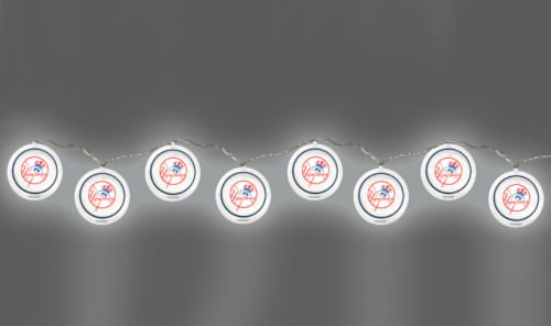 New York Yankees Logo 10 LED Disc String Light Set 8 1/2 Feet Long NYY Perspective: back