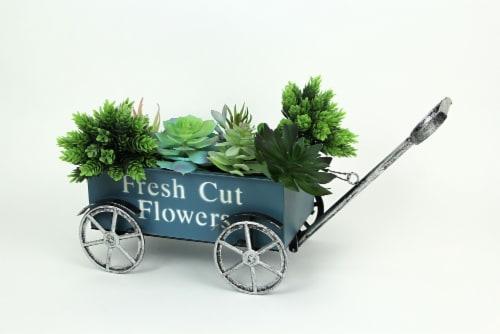 Rustic Blue Fresh Flowers Wagon Planter Stand Cart Indoor Outdoor Garden Decor Perspective: back