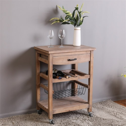 LuxenHome Natural Finish Wood Mobile Bar and Wine Cart Perspective: back