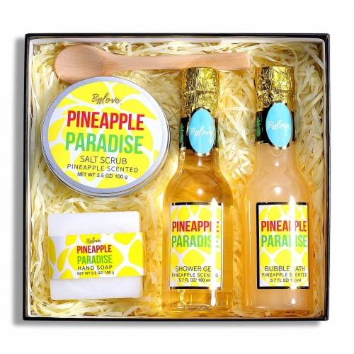 Pineapple Scent Spa Sets with Bubble Bath/Shower Gel/Soap, Bath Gift Set Perspective: back