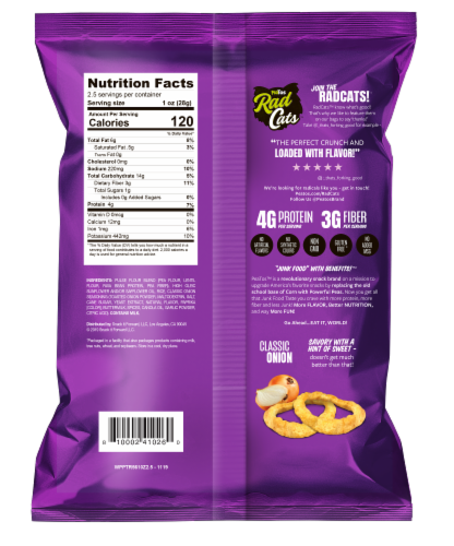 Peatos Classic Onion Crunchy Rings Perspective: back