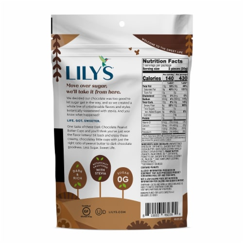 Lily's® Dark Chocolate Peanut Butter Cups Perspective: back