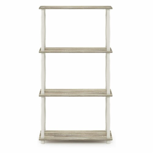 Furinno Turn-N-Tube 4-Tier Shelf Display Rack with Classic Tubes, Sonoma Oak and White Perspective: back