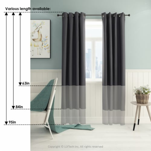 Dark Grey Furinno Collins Curtain 52x84 inches Perspective: back