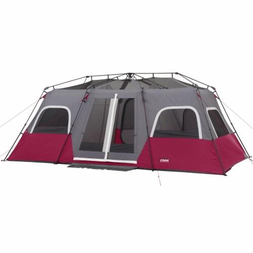 CORE Equipment 12 Person 18 Feet x 10 Feet Double Door Instant Cabin Tent, Wine Perspective: back