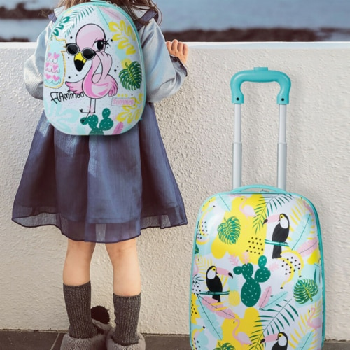 Gymax 2PC Kids Luggage Set Backpack & Rolling Suitcase Travel ABS Flamingos Perspective: back
