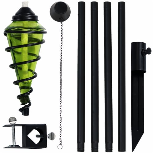 Sunnydaze 2-in-1 Metal Swirl with Green Glass Outdoor Lawn Torch - Set of 2 Perspective: back