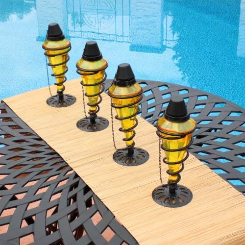 Sunnydaze Yellow Glass Outdoor Tabletop Torches with Fiberglass Wicks - Set of 4 Perspective: back