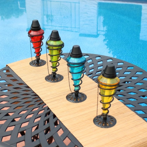 Sunnydaze Colored Glass Outdoor Tabletop Torches - Fiberglass Wicks - Set of 4 Perspective: back