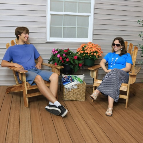 Sunnydaze Rustic Wooden Adirondack Chair with Light Charred Finish - Set of 2 Perspective: back