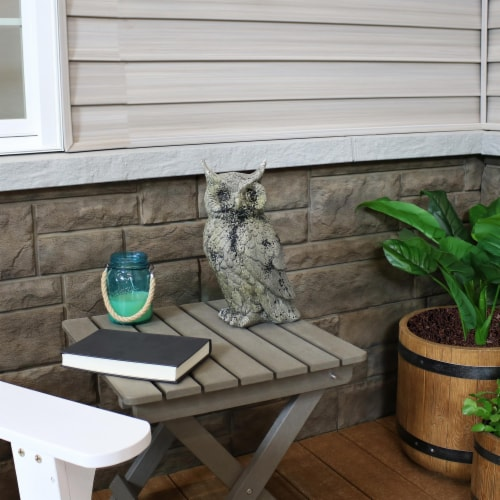 """Sunnydaze Outdoor Garden Statue Great Horned Owl Patio and Lawn Decor - 14"""" Perspective: back"""